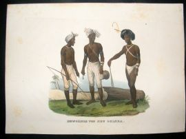 Schinz 1845 Antique Hand Col Print. Natives of Papua New Guinea, Pacific 27